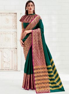 Mercidized cotton silk sarees --DM us for more info-- Simple Blouse Designs, Saree Blouse Neck Designs, Stylish Blouse Design, Designer Blouse Patterns, Designer Dresses, Saree Models, Silk Sarees, Saris, Indian Sarees