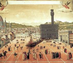 Hanging and burning of Girolamo Savonarola in Piazza della Signoria in Florence in 1498.
