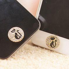 Sticker Adesivo Tasto Home Strass Brillanti Gatto Nero per Iphone 4 S 5 S C iPAD