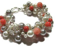 BRIDAL Pearl Bracelet Persimmon Salmon Peach  by SerebaDesigns, $68.00