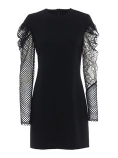 Saint Laurent Contrasting Sleeve Dress In Black Ysl Heels, Long Sleeve And Shorts, Short Sleeve Dresses, Dresses With Sleeves, Good Old, Lace Sleeves, Lace Detail, Saint Laurent, Contrast