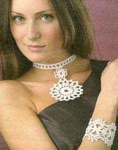 Uncinetto d'oro: Collana e braccialetto schema - crochet necklace diagram