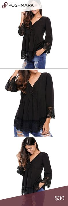 Black Boho Lace V-Neck Blouse Brand new blouse top create new fashion look! Material: Polyester+Spandex. There are shoulder paddings, buttoned neckline, 3/4 sleeves and comfortable loose fit finish.                     SizeChart(in): (Medium: Bust 37-39, Waist 36-37, Length 28. )(Large: Bust 39-41, Waist 38-39, Length 29. ) (X-Large: Bust 42-44, Waist 41-42, Length 30. )XX-Large: Bust 45-46, Waist 43-45,Length 30. Tops Blouses