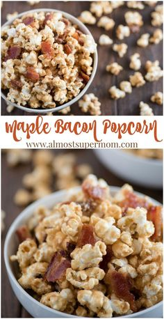 Maple Bacon Popcorn. Sweet maple syrup and savory bacon combine in this heavenly popcorn recipe that is sure to make your taste buds shout for joy! via @almostsupermom1