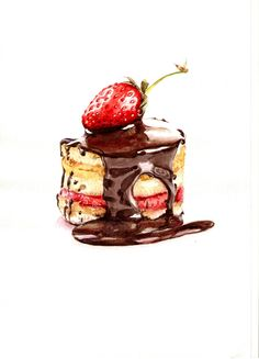 cake with strawberries watercolor Illustration Dessert, Food Art Painting, Chibi Kawaii, Sweet Drawings, Art Drawings, Food Sketch, Watercolor Food, Food Drawing, Logo Food