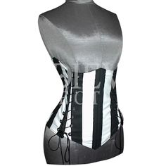 Striped Double Lacing Under-Bust Corset