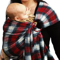 Ring Sling Baby Carrier Plaid Red and Black Mad About by BabyEtte, $60.00