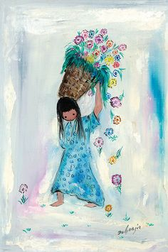 """""""I only paint eyes on the children in my paintings, because children have the freedom of expression that most adults lack."""" –DeGrazia"""