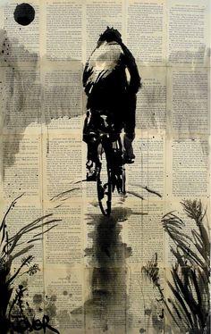 Loui Jover (1967) < Homeward Bound > Penna e inchiostro su carta stampata riciclata e incollata, 36x24cm