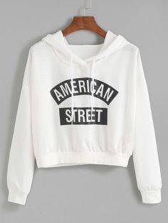 Shop White Letter Print Hooded Sweatshirt online. SheIn offers White Letter Print Hooded Sweatshirt & more to fit your fashionable needs.