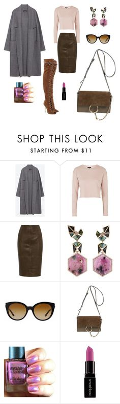 """""""No, Not That Time"""" by vinblaclass ❤ liked on Polyvore featuring Zara, Topshop, Nak Armstrong, Versace, Chloé, Emilio Pucci, Smashbox, women's clothing, women and female"""