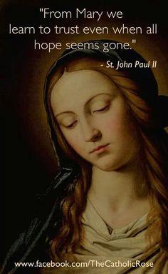 John Paul II (This quote is used before the rosary on EWTN. Catholic Quotes, Catholic Prayers, Catholic Saints, Roman Catholic, Religious Quotes, Mary And Jesus, God Jesus, Jesus Christ, Juan Pablo Ll