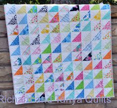 Half Square Triangle Baby Quilt Pattern for 40 by 40 baby quilt on Etsy, $4.00