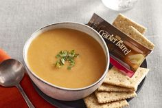 Four-Ingredient Lentil Soup Recipe - Kraft Canada Kraft Recipes, New Recipes, Healthy Recipes, Healthy Soups, Healthy Food, Lentil Soup Recipes, Red Lentil Soup, Slow Cooker Recipes, Cooking Recipes