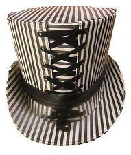 Steampunk-Pinstripe-tophat-gris et blanc-avec-noir leatherlook en 60cm