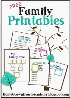 FREE Family Printables - includes My family tree, family history interview, and all about pages. A family tree is the best way to get children interested in their family history. Genealogy Forms, Family Genealogy, Free Genealogy Records, Genealogy Websites, Genealogy Chart, Family Theme, My Family, Kids Family Tree, Thinking Day