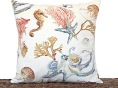Coastal Pillow Cover Cushion Seashells Seahorse Sea Coral Octopus Crab  Beige Blue Red Brown Decorative Repurposed