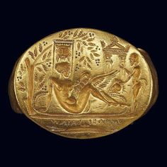 Minoan, Probably Leda and the Swan Gold signet ring from Thessaly 2nd c BC Benaki Museum Athens.