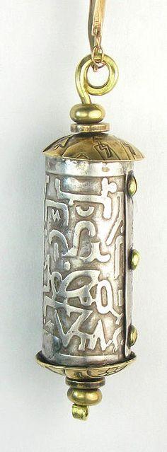 ✯ Secret Message Capsule Etched Silver Pendant ✯