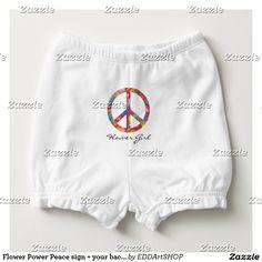 Flower Power Peace sign + your backgr. & ideas Diaper Cover
