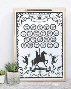 5 december sinterklaas gratis aftel kalender schoenkalender zwart-wit Holidays And Events, December, Cricut, Printables, Party, Christmas, Crafts, Home Decor, Posters