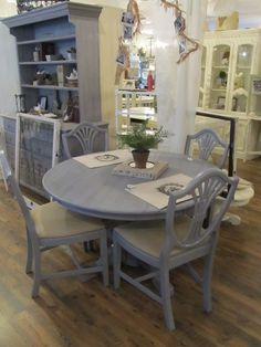 love the light grey washed table with the black chairs | for the