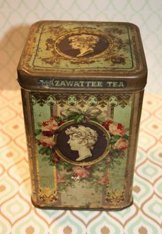 Cameo head antique Mazawattee Tea canister by Tinternet on Etsy