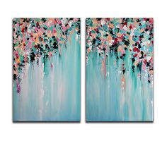Original Abstract Painting, Diptych Set of Two Modern Wall Art Heavy Textured Turquoise Green Pink LARGE 24x32""