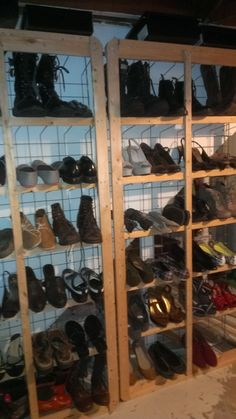 I took two old boxsprings, removed the cloth & staples. Stood them upright and now have a wicked awesome shoe rack. Easy.