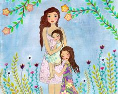 Mother Daughter Painting, Mother and Two Daughters Painting Art Print, Nursery Wall Art, Mother and Child Painting, Gift for Mother's Mother And Child Painting, Painting Of Girl, Mixed Media Painting, Painting For Kids, Art For Kids, Painting Art, Mother Daughter Art, Mother Art, Nursery Paintings