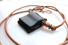 Eco Friendly Upcycled Hendrick's Gin Bottle Rectangle Pendant Dark Brown Repurposed Recycled