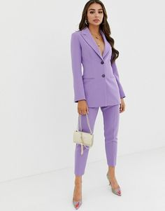 Find the best selection of ASOS DESIGN pop waisted suit blazer. Shop today with free delivery and returns (Ts&Cs apply) with ASOS! Blazer Fashion, Suit Fashion, Fashion Outfits, Fashion Fall, Fashion Women, Women's Fitted Suit, Costume En Lin, Purple Outfits, Elegantes Outfit