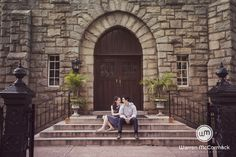 Anne and Vince's engagement session in downtown Raleigh. #engagementphotos…
