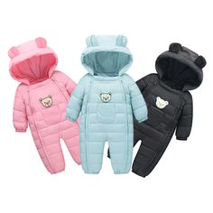 Hot Baby Boys Girls Long Sleeves Rompers Urbling Newborn Casual Thicken Zipper Waterproof Hooded Jumpsuits for 0-2T