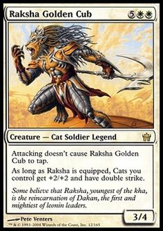 Raksha Golden Cub - Fifth Dawn, Magic: the Gathering - Online Gaming Store for Cards, Miniatures, Singles, Packs & Booster Boxes B Card, Cubs Cards, Mtg Decks, Protection Spells, Legendary Creature, Magic The Gathering Cards, Magic Cards, Wizards Of The Coast, Deck Of Cards