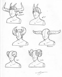 Horns on Humans Drawing Reference. Doodle Drawing, Manga Drawing, Drawing Sketches, Art Drawings, Drawing Tips, Demon Drawings, Sketching, Human Drawing, Fantasy Drawings