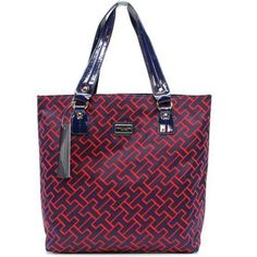 """TOMMY HILFIGER  NAVY/Red  AUTHENTIC """"TH"""" SIGNATURE TOTE BAG HANDBAG PURSE NWT #TommyHilfiger #TotesShoppers"""