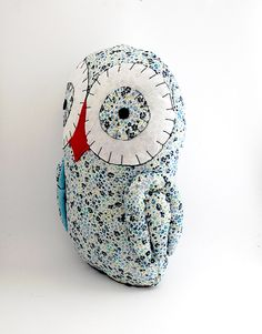 Handmade Owl - blue floral print owl, red, vintage, stuffed animal, garden fabric, plush, childs soft toy, baby girl boy gift. $20.00, via Etsy.
