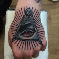 Black And Grey Tattoo Color Of Illuminati Eye Tattoos For Hand Tattoo Design Ideas  Link : http://www.ontattoos.com/