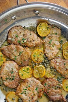 Pork Medallions with Picatta Sauce. - Pork tenderloin medallions pan fried and finished with a Picatta sauce of white wine, lemon juice and capers. Serve over rice or pasta for a perfect and easy meal. Pork Chop Recipes, Meat Recipes, Cooking Recipes, Sauce Recipes, Pork Cutlet Recipes, Rabbit Recipes, Cooking Ribs, Cooking Pasta, Cooking Steak