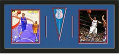 Two framed 8 x 10 inch Los Angeles Clippers photos of Chris Paul with a Los Angeles Clippers mini pennant, double matted in team colors to 30 x 12 inches.  The lines show the bottom mat color.  (Pennant design subject to change)  $99.99 @ ArtandMore.com