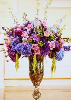 Blue Green Purple Blossoming Branches Centerpiece Greenery Hydrangea Rose Wildflower Wedding