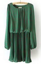 Green Long Sleeve Polka Dot Pleated Chiffon Dress $30.48