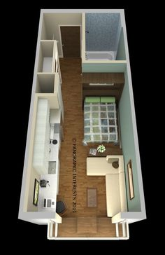 Floor plan of SmartSpace's 285-square-foot unit. Image courtesy of Patrick Kennedy