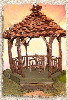 fairy gazebo roofed with pinecones