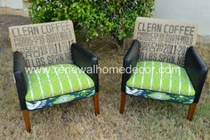 LOOOVE these!!  Mid Century Club Chairs   Green Ikat Club by ReNewalHomeDecor, $999.00