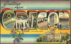 I pinned this Vintage Oregon postcard from http://www.moodyscollectibles.com