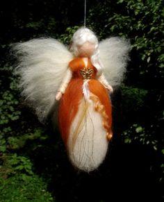 FAIRY Needle Felted Wool Cinnamon Doll Angel Fairies by Holichsmir