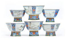 Set de 6 bowls em porcelana Chinesa, Periodo Guangzhou, Familia Rosa, 13cm de altura, 33,250 EGP / 13,350 REAIS / 4,000 EUROS / 4,360 USD https://www.facebook.com/SoulCariocaAntiques
