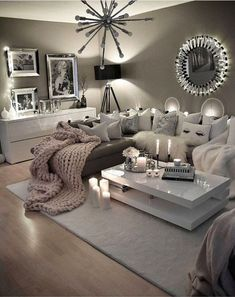 Neutral gray living room - love these colors for my livingroom!